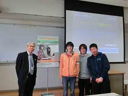 藤村先生と石川君,石本君,加茂君です
